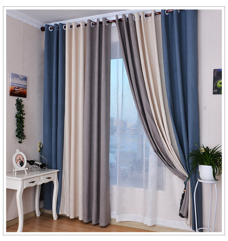 Blue And Tan Curtains: Very Thick & Dense Linen Curtains For Living Room Blackout