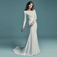 Verngo Sleeved Mermaid Wedding Dress Elegant Soft Satin Wedding Gowns Sexy Appliques Bride Dress Vestido De Noiva Sereia
