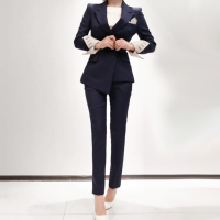 2017 Fashion Womens Business Suits 2 Piece Blazer Set Black Stripe Slim Fit Female Office Uniform