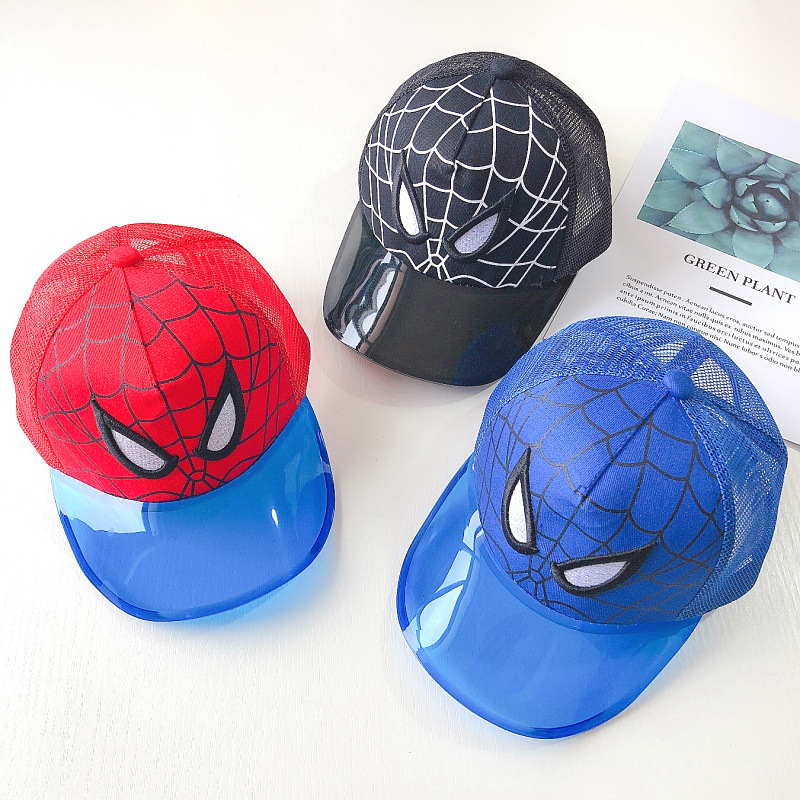 Boys Girls Kid Spiderman Print Wide Brim Bucket Hat Cartoon Summer Beach Sun Cap