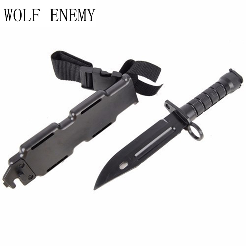 Wargame Airsoft Tactical Toy Plastic <font><b>M9</b></font> <font><b>Knife</b></font> Outdoor Hunting Training Camping Survival Cosplay <font><b>Knife</b></font> Black image