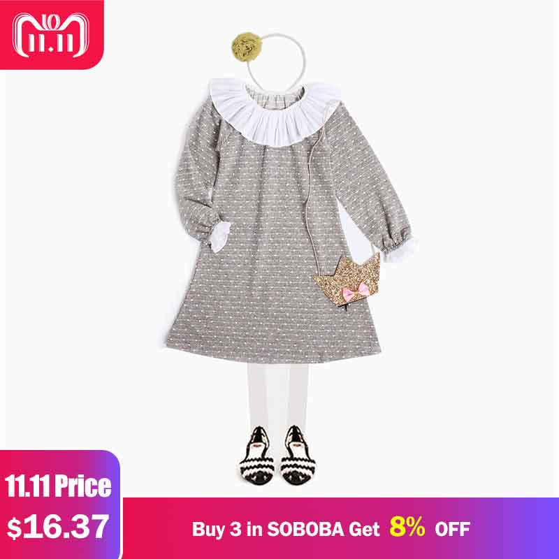 Elegant Dress for Girls Long Sleeve Puff Sleeve A-line Lace Girls Dresses Dot Pattern Knee-length O-neck Dress Clothes for Girls fashionable women s jewel neck long sleeve bowknot decorated dress