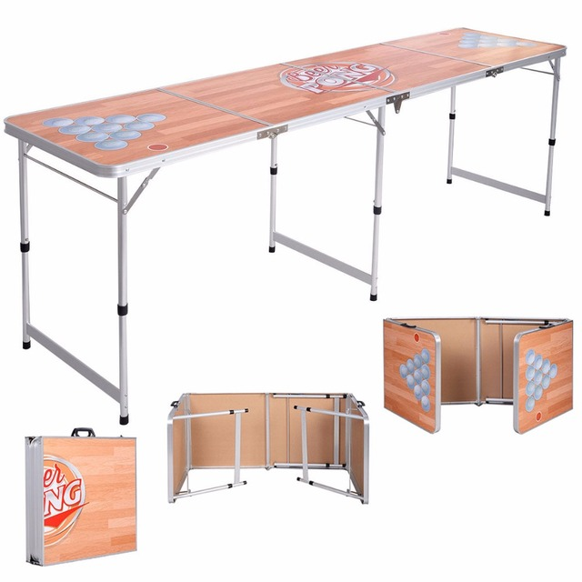 Foldable Aluminum 8 Folding Beer Pong Table Portable Outdoor Indoor Party Op2809