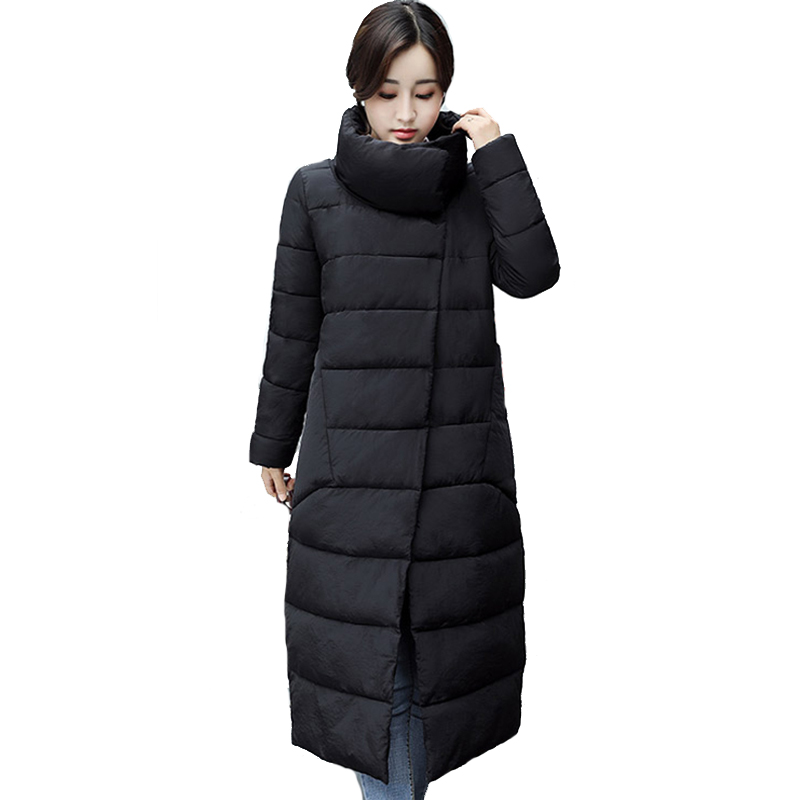 Stand Collar Women Winter Jacket Cotton Padded Female Long Breast Buttons Coat Parka 2019 New Arrival Parka