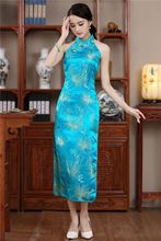 Fashion Light Blue Satin Long Halter Cheongsam Elegant China Backless Costume Dress Size S M L XL XXL Mujer Vestido JY028–1