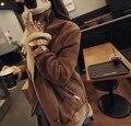 Casaco feminino 2015 Novo Camelo Cordeiro lã barato parque Turn-collar volta detalhe fivela de Cinto das mulheres casacos de inverno e casacos LA0028