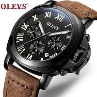 OLEVS Sports Chronograph Watches Top Brand Clock Mens Business Watchwrist Leather Strap Quartz Military Relogio Masculino