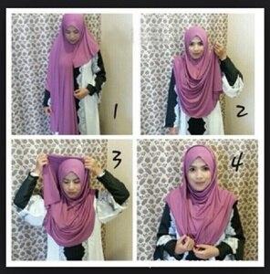 Image 1 - ใหม่ห่วง HIJAB ผู้หญิงธรรมดา Jersey Hijab ทันทีผ้าฝ้ายมุสลิมหัวผ้าพันคอสีทึบ Headwear ครึ่งอ่านสวมใส่ 180x70 ซม.