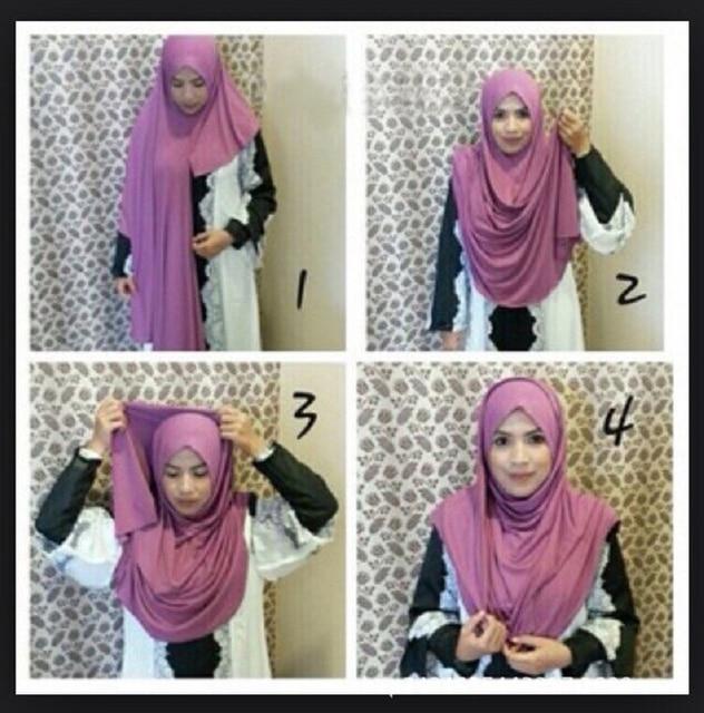 ใหม่ห่วง HIJAB ผู้หญิงธรรมดา Jersey Hijab ทันทีผ้าฝ้ายมุสลิมหัวผ้าพันคอสีทึบ Headwear ครึ่งอ่านสวมใส่ 180x70 ซม.