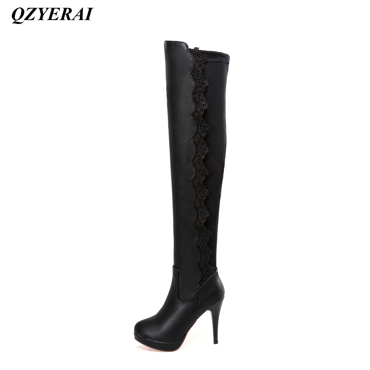 QZYERAI winter to the thigh fine heels womens boots hollowed-out lace fashionable womens shoes womens boots