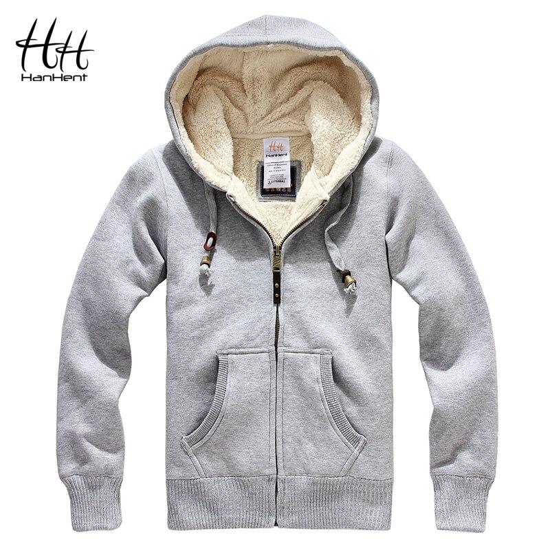 HanHent Sheep Velvet Thickened Men Winter Coats Thick Wool Warm Hoodie Sweatshirts 2017 New Fashion Men Clothing Cashmere AG0015