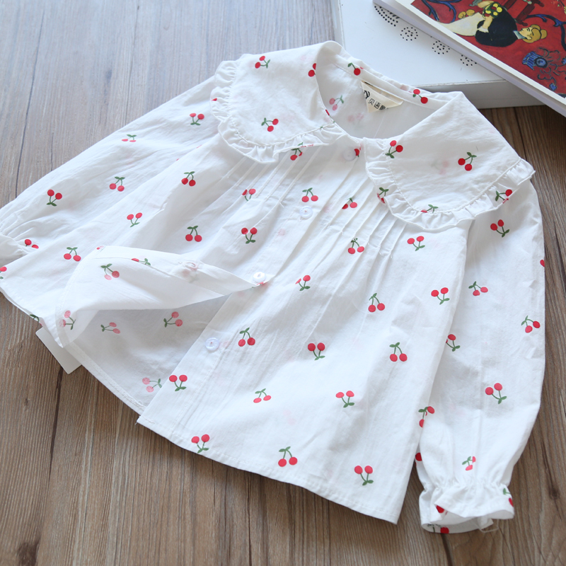 2018 Autumn New Girls Shirt Children'S Wear Girls' Fruit Cherry Shirt Baby Print Lapel Shirt Children'S Long Sleeve Coat Cotton