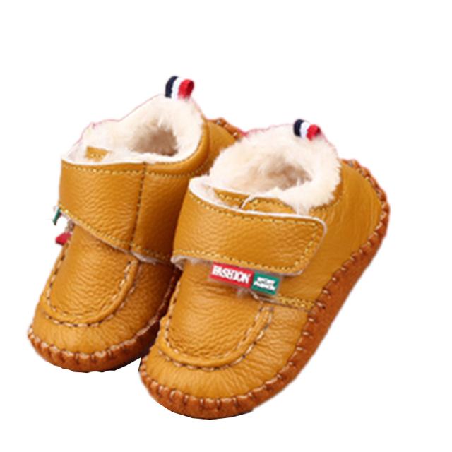 Bebê Primeiros Caminhantes Antiderrapante Sapatos de Pelúcia Para O Bebê Da Menina Do Menino Gênio Infantil Impresso Infantil Criança bebe sapatos Dedo Do Pé Redondo de Couro