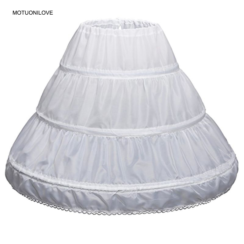 White Children Petticoats 3 Hoops One Layer Kids Crinoline Lace Trim Flower Girl Dress Underskirt Elastic Waist Full Slip PEC006