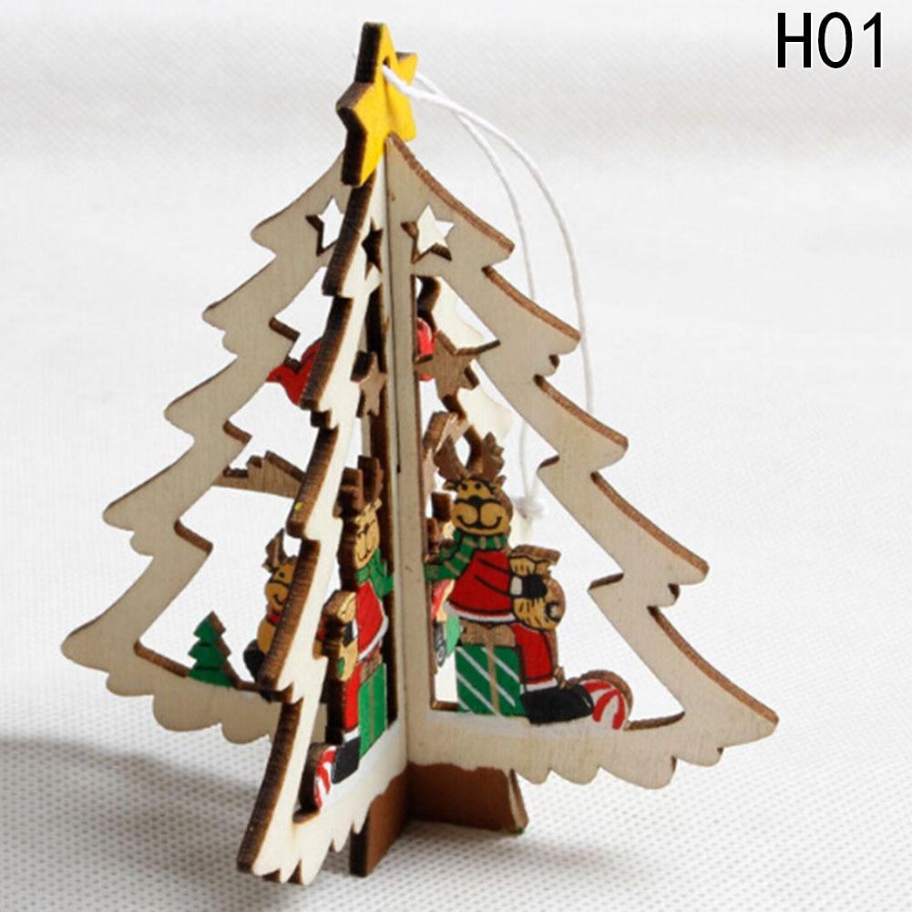 natural de madera pentagram gota adornos del rbol de navidad adorno de navidad de madera colgantes