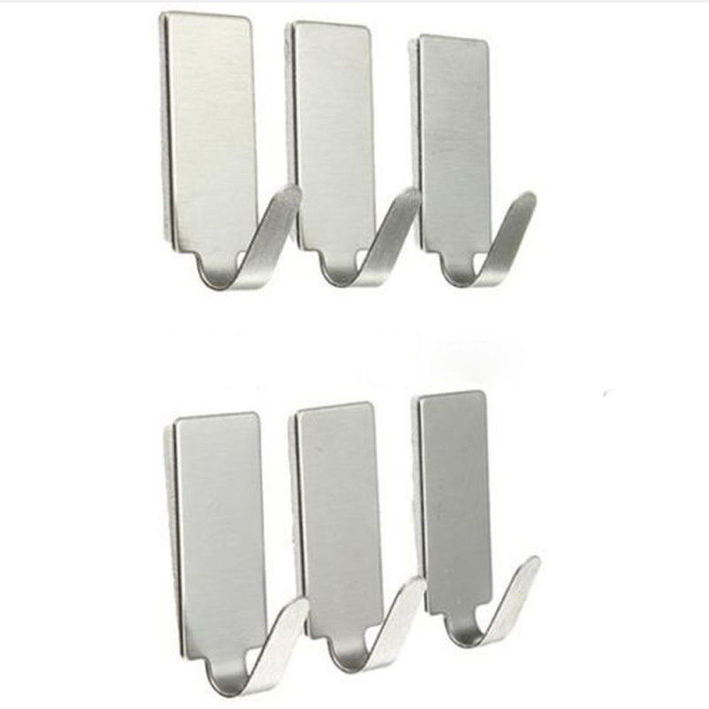 6Pcs Self-adhesive Parts Household Kitchen Wall Door Stainless Steel Hook Hanger Perfect For Bathroom Door Wall Convenient