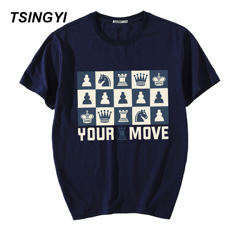 Tsingyi Summer 5XL Print International Chess You Move T Shirt Men 100% Cotton O-Neck Short Sleeve Tee Shirt Homme Plus Size 5XL image