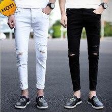 Новинка, весенне-летние потертые мужские джинсы до колена с дырками, для подростков, тонкие черные, белые, парные узкие брюки