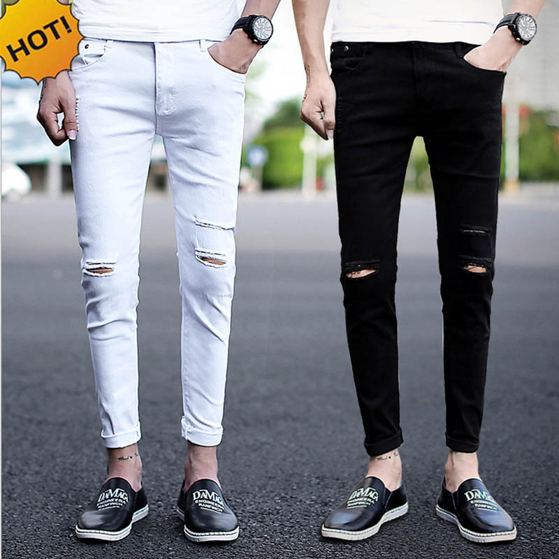New 2017 spring summer Distressed Cotton Men Knee hole jeans male feet Ankle-Length teenagers show thin black white tight couple