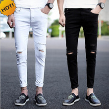 Купить с кэшбэком New 2017 spring summer Distressed Cotton Men Knee hole jeans male feet Ankle-Length teenagers show thin black white tight couple