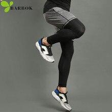 BARBOK men running sports leggings shorts suits set anti-sweat yoga basketball jogging pants gym tights
