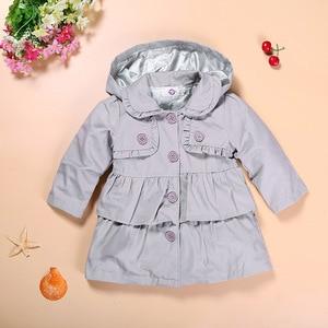 Image 2 - Hooyi niños Tench abrigo sudaderas con capucha gris bebé niña abrigo niños chaqueta bebé niña ropa trajes gabardina ropa de abrigo con capucha puente 1 5Y