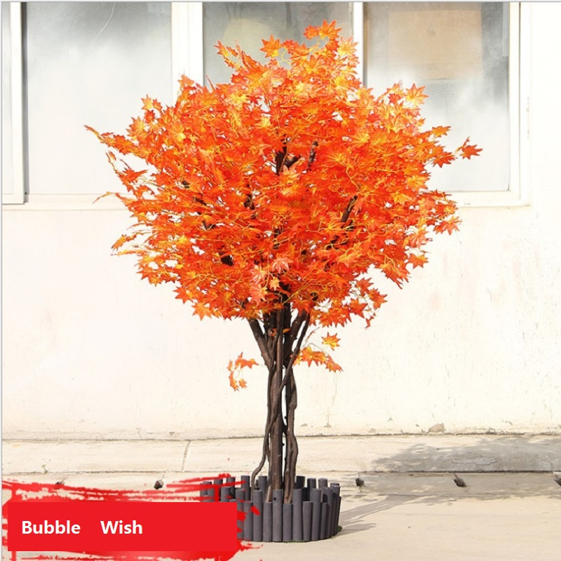 artificial maple tree Red maple tree Large scale simulation of green plants Shop living room decoration plant 1.5 M high - 5