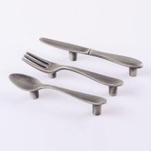 "3"" Kitchen Cabinet Door Handle Brushed Gray Grey Cupboard Handles Drawer Pull Handles Spoon Fork Knife 76 mm"