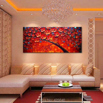 Canvas painting on the wall painting for entrance way canvas wall art photos palette knife hand painted Red flower tree