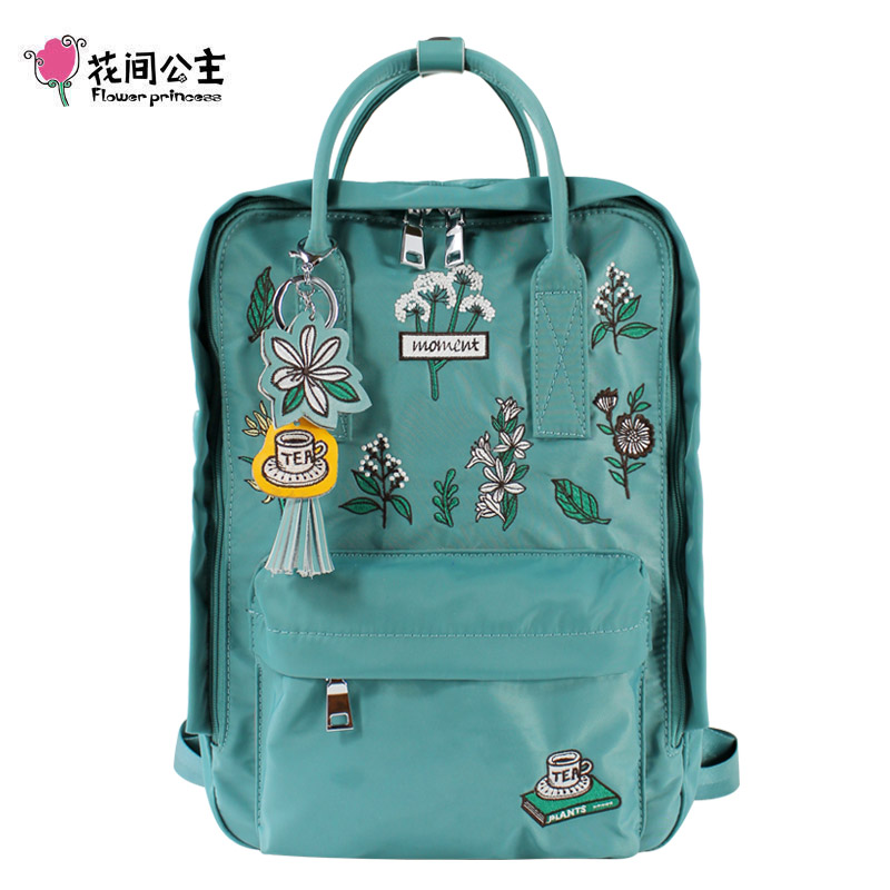Flower Princess Women Embroidery Backpacks 14 Laptop Backpack High Quality Travel Backpack School Bags for Teenage