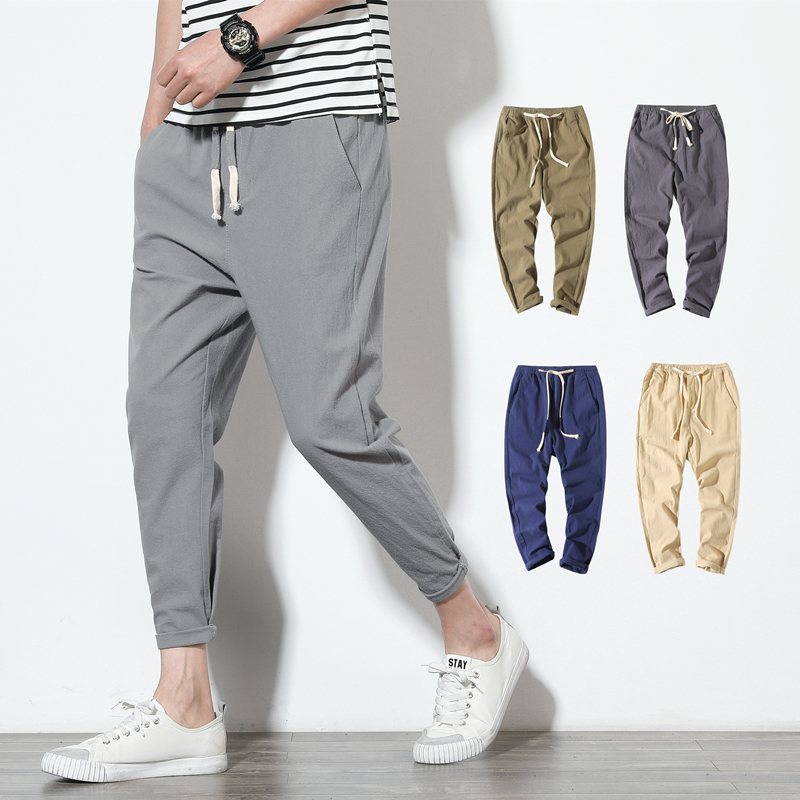 Cotton Linen Joggers Black Men's Harem Pants Solid Fitness Casual Ankle-Length Mens Trousers Summer Streetwear Clothes Male(China)
