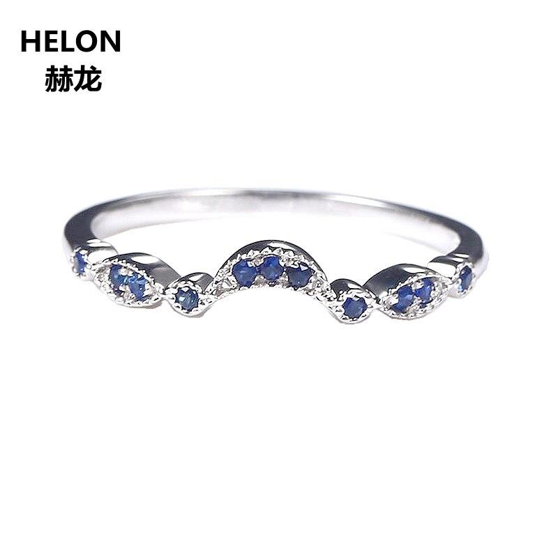Argent Sterling 925 couleur or blanc saphir naturel bague de fiançailles bande de mariage femmes bijoux fins taille 3.5-12