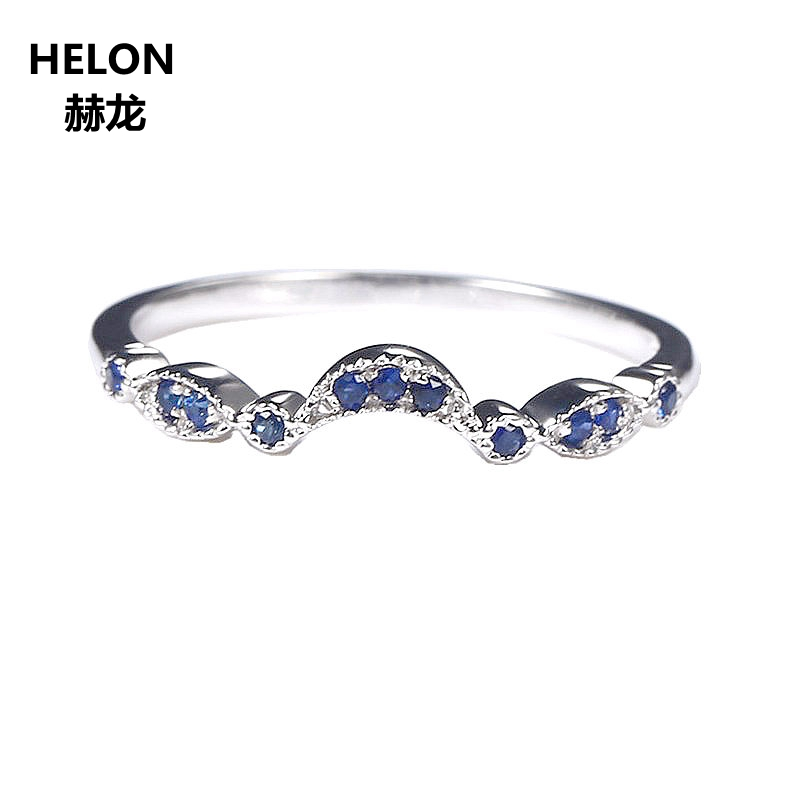 Sterling Silver 925 White Gold Color Natural Sapphire Engagement Ring Wedding Band Women Fine Jewelry Size 3.5-12