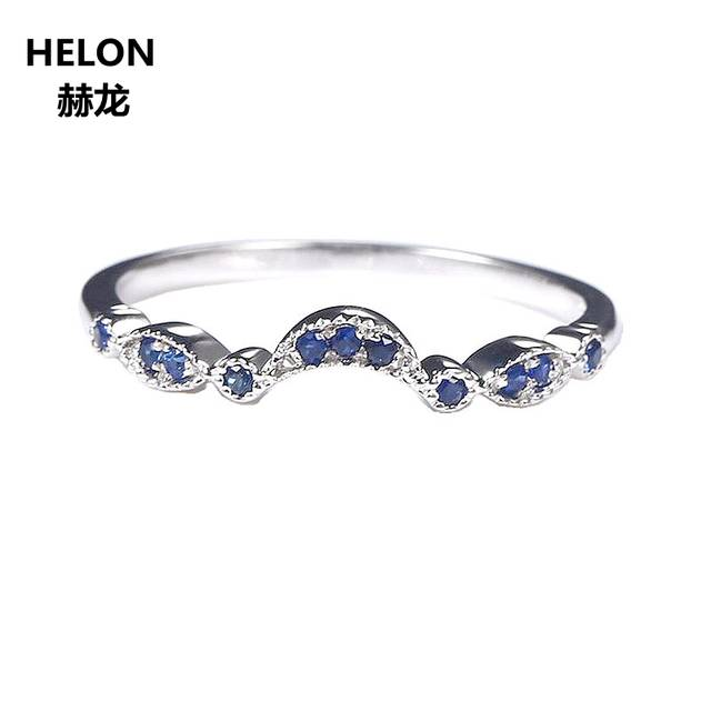US $34 17 49% OFF|Sterling Silver 925 White Gold Color Natural Sapphire  Engagement Ring Wedding Band Women Fine Jewelry Size 3 5 12-in Rings from