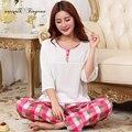 2017 Женщин Свободные Симпатичные Пижамы Наборы Печати Хлопок Sleepwears Homewears Pajama Наборы S-XXL