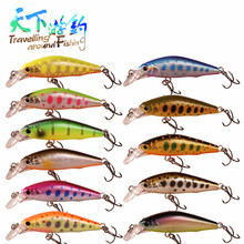 TAF Hot Selling 4.2cm 3.66g Sinking Minnow Fishing Lure France VMC Treble Hook 3D Eyes ABS Plastic Discount Artificial Hard Bait