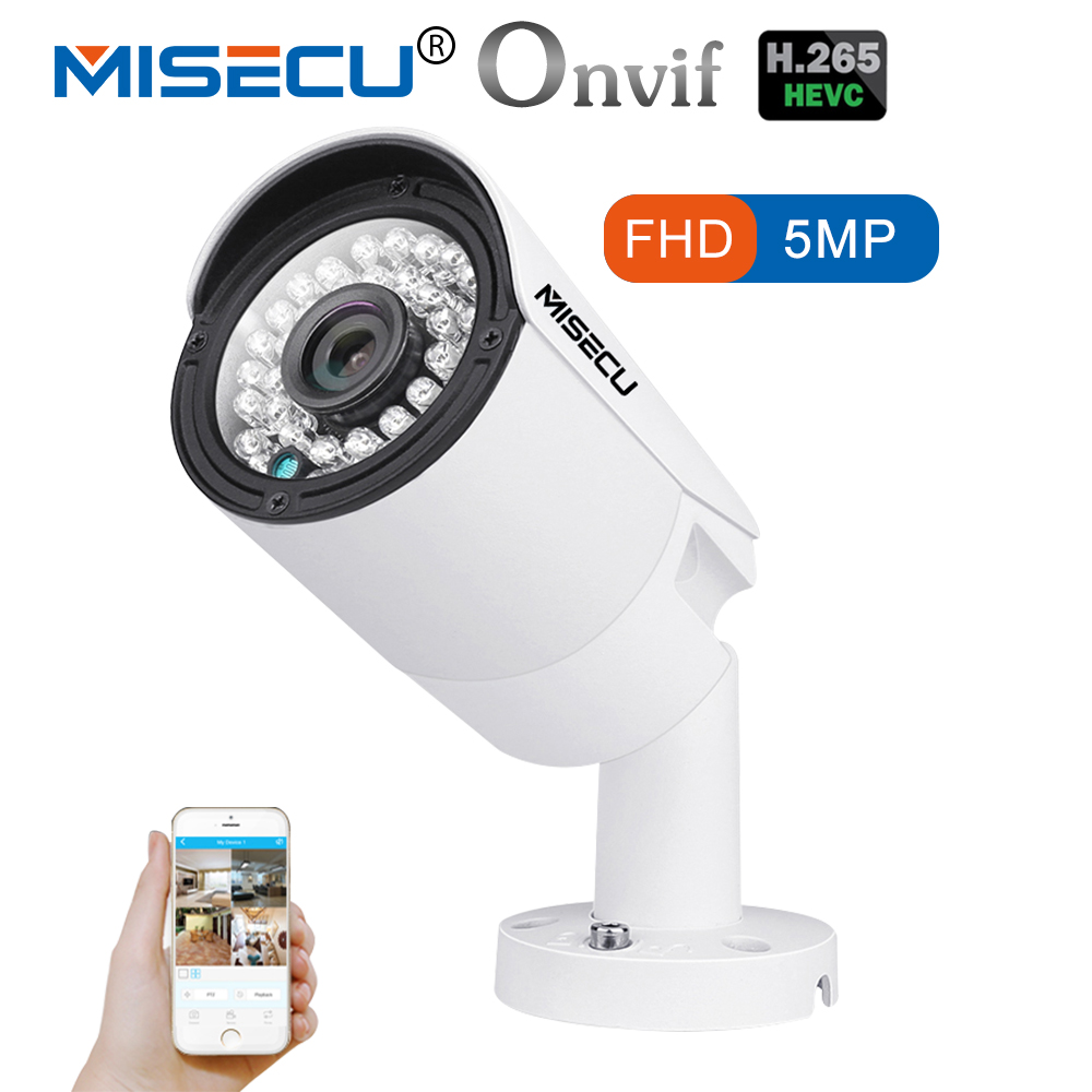 MISECU H.265 IP POE Caméra de Sécurité Extérieure Imperméable Vidéo Surveillance Caméra Motion Dectection Onvif FTP Caméra 5MP 3MP 2MP