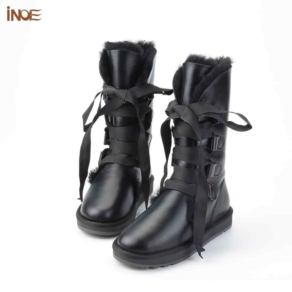 INOE אופנה תחרה עד שלג מגפי נשים כבש עור טבעי כבשים פרוות צמר בנות חורף נעליים עמיד למים שחור