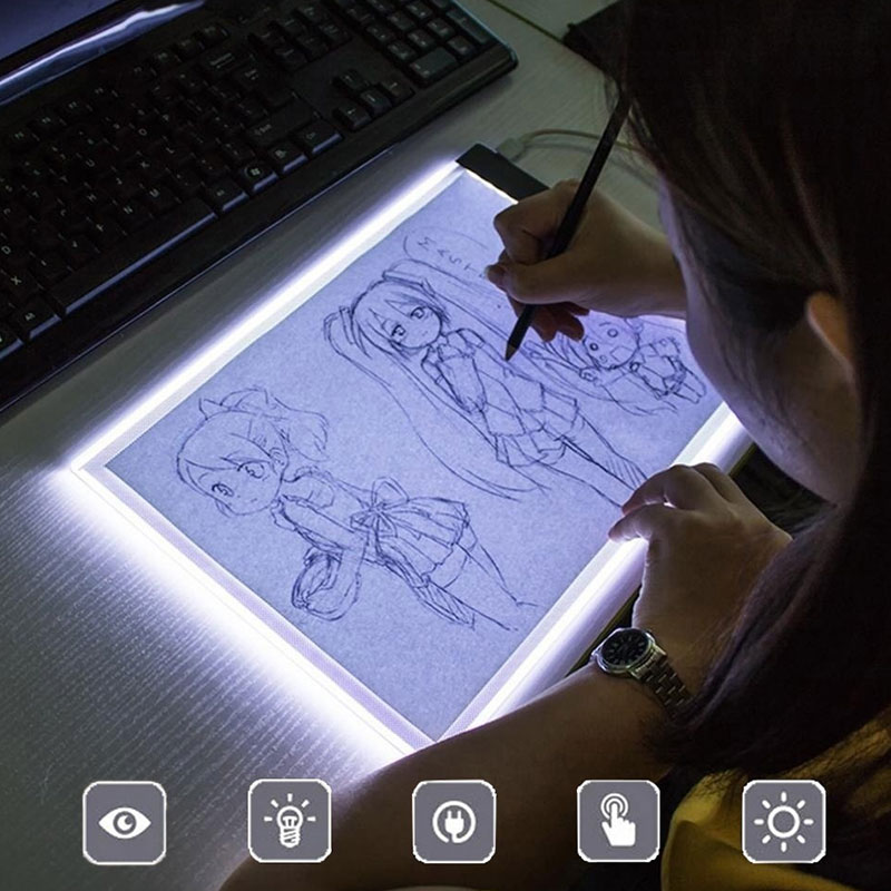 Ultra Thin A5 LED Drawing Tablet Graphic Artist Thin Art Stencil Drawing Board Waterproof IP65 Light Box Tracing Table Pad