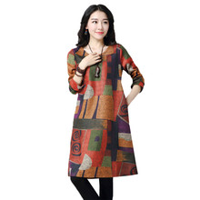 2019 New Fashion Woolen Spring winter Dress Vintage Print Floral Women Casual Party Midi Female XY887