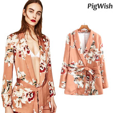 PigWish 2017 Flower Print Blazer Feminino Sashes Women Slim Fit Long OL Vintag Trouser Suit Jacket Floral Coat Outerwear Pant