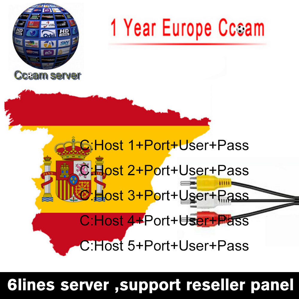 HD cccam server 1 year for Europe Satellite cccam Account Share Sever Italy/Spain/French/Germany IKS 1year TV 6 RCA Cable(China)