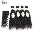 Mongolian Human Hair 4 Bundles and Closure 7A Unprocessed Mongolian Water Wave With Closure Mongolian Virgin Hair With Closure