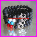 A set of 4pcs Nature 8mm  Energy Stone Lava Beads with silver charms Hamsa Hand Bracelet