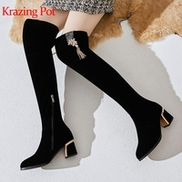 Krazing Pot metal flowers tassel decoration flock high heels round toe Winter brand shoes handmade big size knee high boots L65