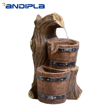 110V-220V Mini Resin Barrel Water Fountain Feng Shui Home Decoration Desktop Figurine air humidifier vintage Ornament Lucky Gift