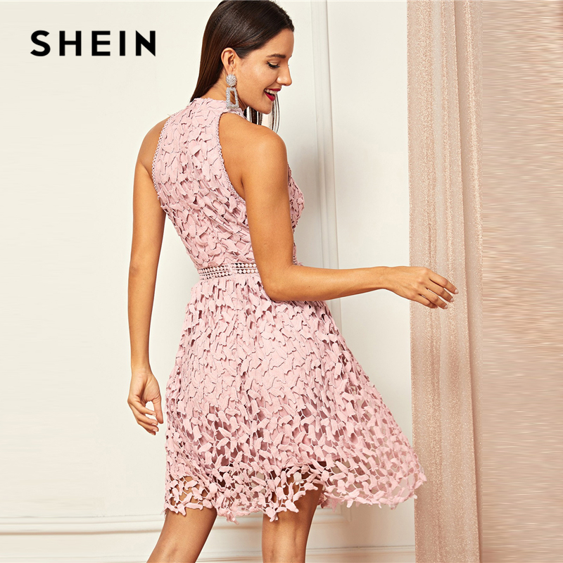 Image 2 - SHEIN Going Out Pink Party Halter Neck Lace Skater Sleeveless 