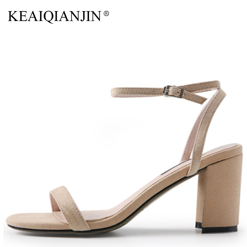 KEAIQIANJIN Woman Sheepskin Sandals Fashion Sexy Genuine Leather Shoes Plus Size 33 - 41 Apricot Blue Red Wedding Sandals 2018