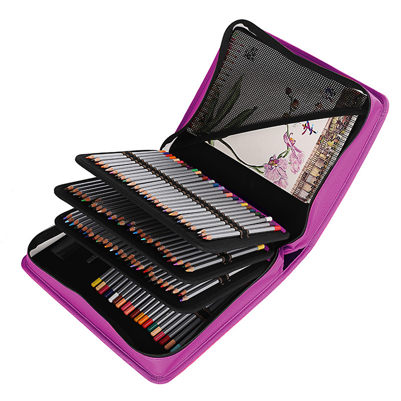 Porte-crayon d'école 180 trous PU cuir professionnel étui à crayons multi-fonctionnel croquis dessin stylo sac Art fournitures papeterie