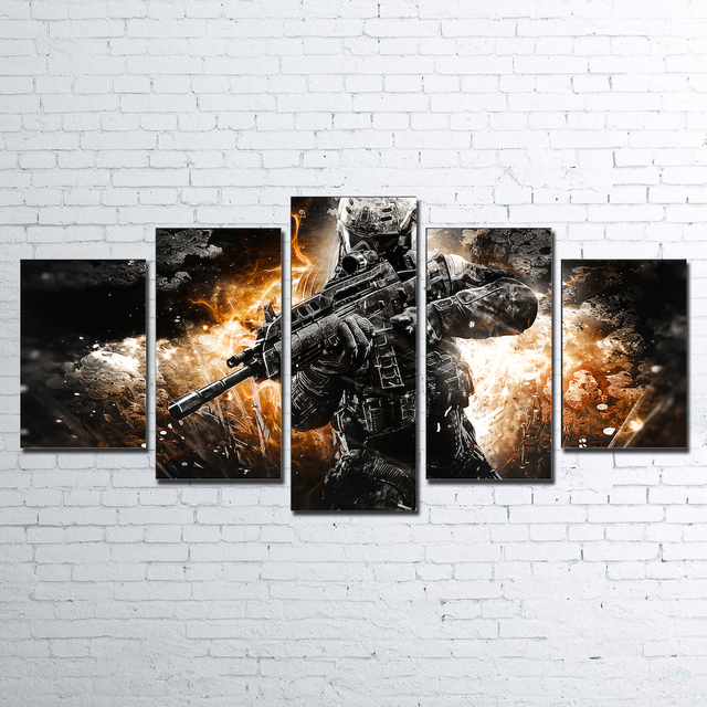 Wall Art Home Decor Framework Abstract Canvas Pictures 5 Pieces Soldiers Paintings HD Printed Game Call Posters For Living Room